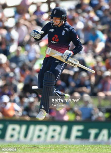 England batsman Jonathan Bairstow reaches his century during the 4th ODI between New Zealand and England at University of Otago Oval on March 7 2018...