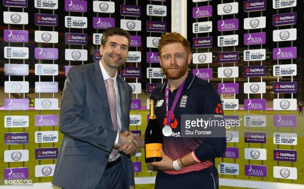 England batsman Jonathan Bairstow with his man of the match award after the 1st Royal London One Day International match between England and West...