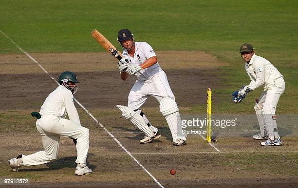 England batsman Jonathan Trott picks up some runs during day two of the 2nd Test match between Bangladesh and England at ShereeBangla National...