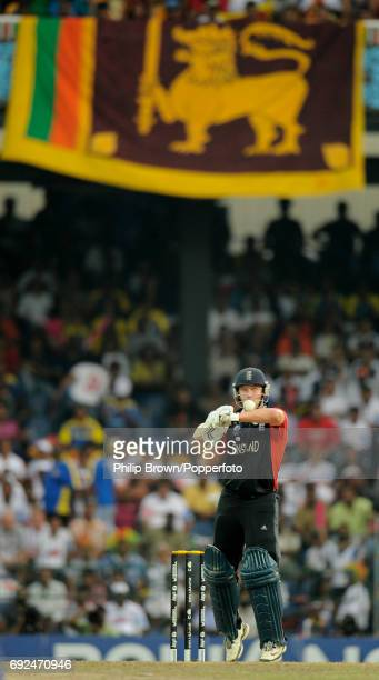 England batsman Jonathan Trott watching the ball as he plays a shot during their ICC Cricket World Cup 2011 quarterfinal match against Sri Lanka in...
