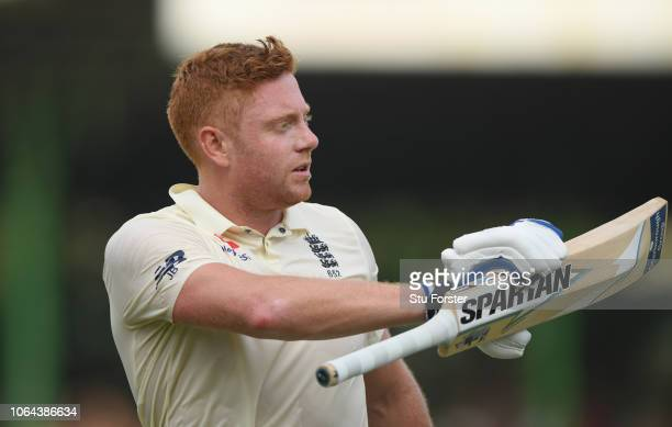 England batsman Jonny Bairstow acknowledges the crowd after being dismissed for 110 during Day One of the Third Test match between Sri Lanka and...
