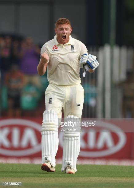England batsman Jonny Bairstow celebrates after reaching his century during Day One of the Third Test match between Sri Lanka and England at...