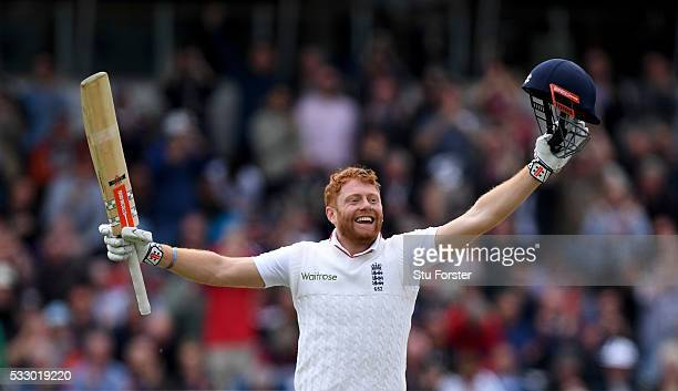 England batsman Jonny Bairstow celebrates after reaching his century during day two of the 1st Investec Test match between England and Sri Lanka at...