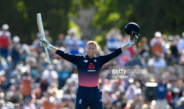 England batsman Jonny Bairstow celebrates his century during the 5th ODI between New Zealand and England at Hagley Oval on March 10, 2018 in...