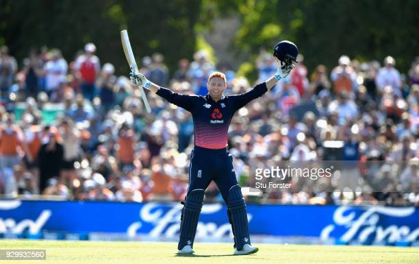 England batsman Jonny Bairstow celebrates his century during the 5th ODI between New Zealand and England at Hagley Oval on March 10 2018 in...