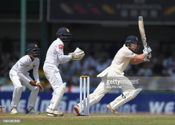 England batsman Jonny Bairstow cuts for runs during Day One of the Third Test match between Sri Lanka and England at Sinhalese Sports Club on...