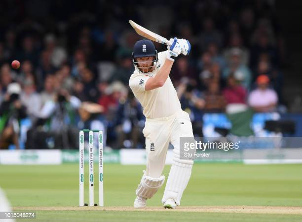 England batsman Jonny Bairstow drives during Day 3 of the 2nd Test Match between England and India at Lord's Cricket Ground on August 11 2018 in...