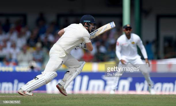 England batsman Jonny Bairstow hits his first ball to the boundary during Day One of the Third Test match between Sri Lanka and England at Sinhalese...
