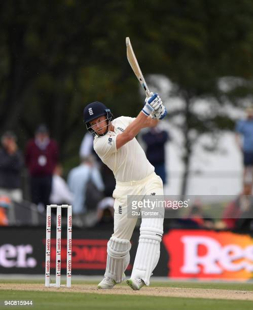 England batsman Jonny Bairstow hits out during day four of the Second Test Match between the New Zealand Black Caps and England at Hagley Oval on...