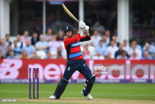 England batsman Jonny Bairstow hits out during the 2nd NatWest T20 International between England and South Africa at The Cooper Associates County...