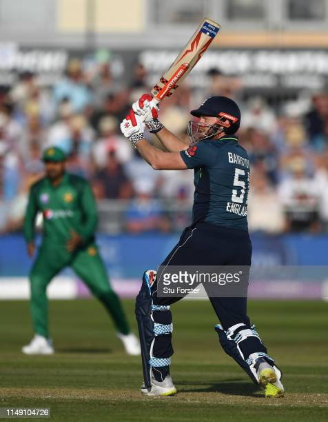 England batsman Jonny Bairstow hits out during the 3rd Royal London ODI match between England and Pakistan at The County Ground on May 14 2019 in...