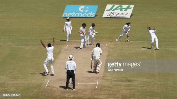 England batsman Jonny Bairstow is caught by the sub fielder for 15 runs off Sri Lanka bowler Dilruwan Perera during Day Three of the Third Test match...