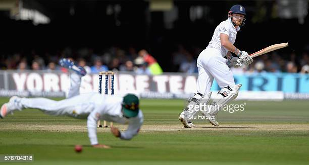England batsman Jonny Bairstow picks up some runs through the slips during day four of the 1st Investec Test match between England and Pakistan at...