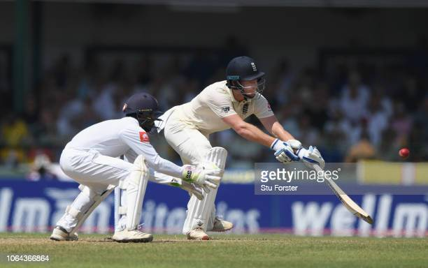 England batsman Jonny Bairstow plays a one handed shot for runs during Day One of the Third Test match between Sri Lanka and England at Sinhalese...