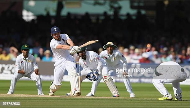England batsman Jonny Bairstow pulls a ball to the boundary during day four of the 1st Investec Test match between England and Pakistan at Lord's...
