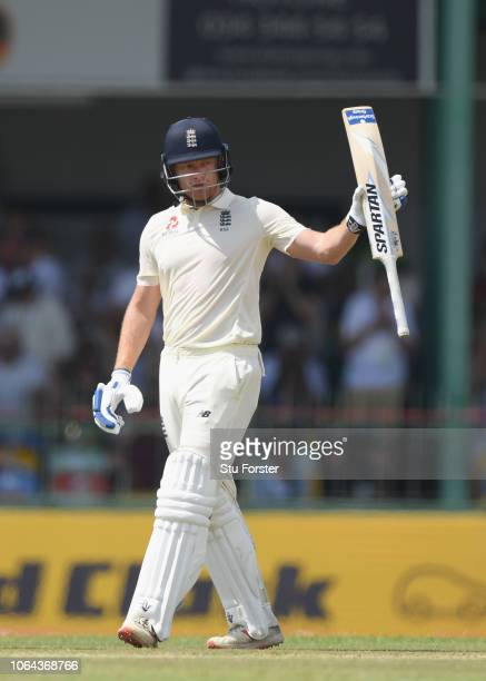 England batsman Jonny Bairstow reaches his 50 during Day One of the Third Test match between Sri Lanka and England at Sinhalese Sports Club on...