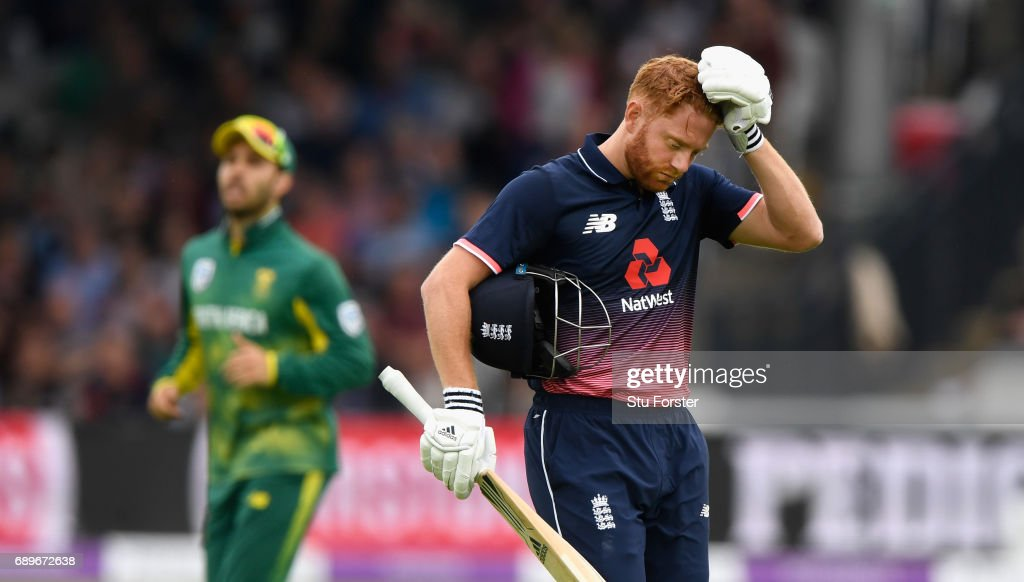 England batsman Jonny Bairstow reacts after being dismissed during the 3rd Royal London Cup match between England and South Africa at Lord's Cricket Ground on May 29, 2017 in London, England.