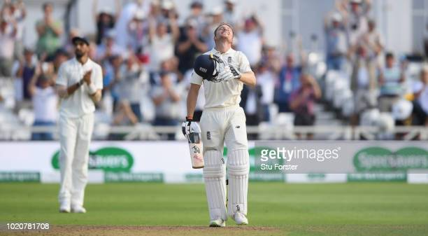 England batsman Jos Buttler celebrates after reaching his century during day four of the 3rd Specsavers Test Match between England and India at Trent...