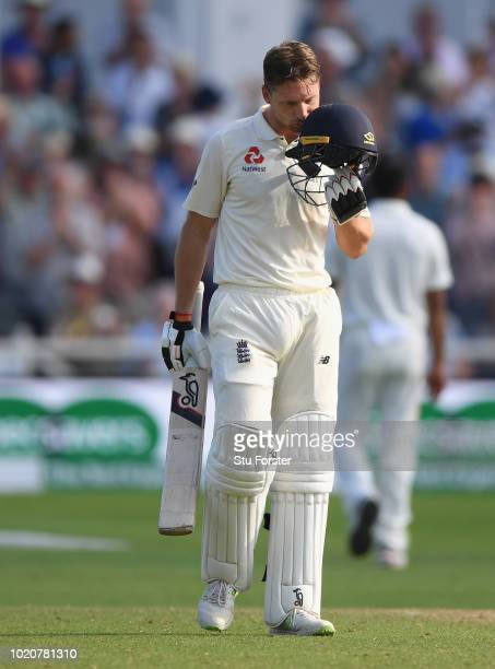 England batsman Jos Buttler kisses his helmet after reaching his century during day four of the 3rd Specsavers Test Match between England and India...