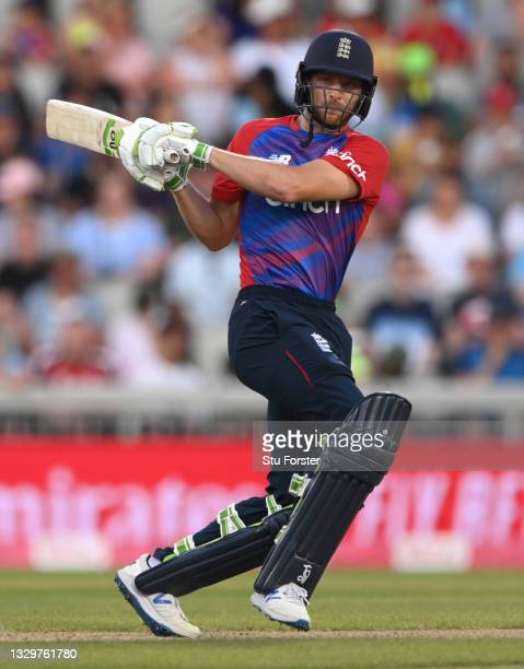 England batsman Jos Buttler plays a reverse hit shot during the 3rd Vitality T20 match between England and Pakistan at Emirates Old Trafford on July...