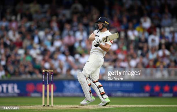 England batsman Jos Buttler reaches his half century with a pull to the boundary during day three of the 2nd Test Match between England and Pakistan...