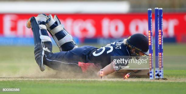 England batsman Katherine Brunt reacts after being run out during the ICC Women's World Cup 2017 match between England and India at The 3aaa County...