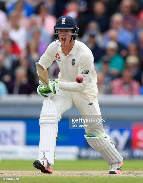 England batsman Keaton Jennings bats during day three of the 4th Investec Test Match between England and South Africa at Old Trafford on August 6...