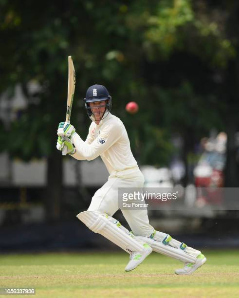 England batsman Keaton Jennings cuts a ball to the boundary during the Tour match between Sri Lanka Board President's XI and England at Columbo...