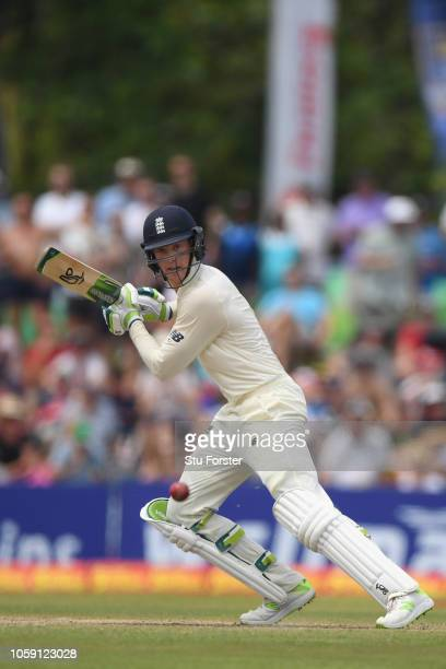 England batsman Keaton Jennings cuts the ball to pick up some runs during Day three of the First Test match between Sri Lanka and England at Galle...