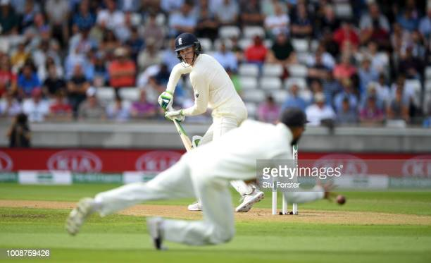 England batsman Keaton Jennings edges a ball past the slips during day one of the First Specsavers Test Match between England and India at Edgbaston...