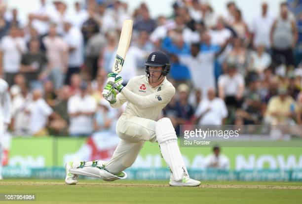 England batsman Keaton Jennings hits out during Day One of the First Test match between Sri Lanka and England at Galle International Stadium on...