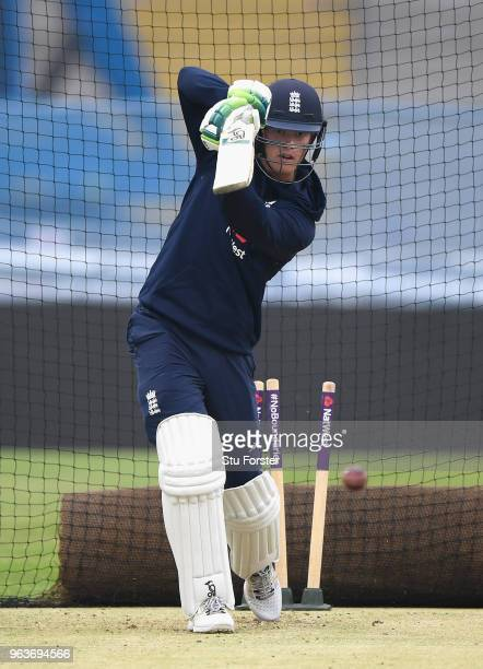 England batsman Keaton Jennings in action during nets ahead of the 2nd Test Match against Pakistan at Headingley on May 30 2018 in Leeds England