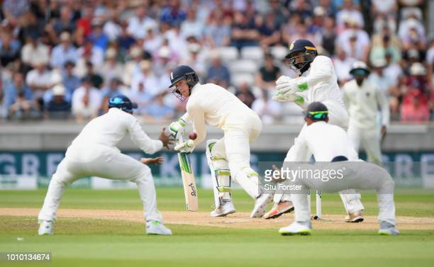 England batsman Keaton Jennings is caught by Rahul off the bowling of Ashwin during day 3 of the First Specsavers Test Match at Edgbaston on August 3...