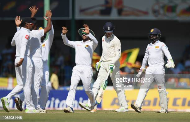 England batsman Keaton Jennings is out lbw to the first ball of the day bowled by Perera during Day Three of the Third Test match between Sri Lanka...