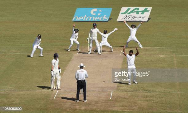 England batsman Keaton Jennings is out lbw to the first ball of the day bowled by Dilruwan Perera during Day Three of the Third Test match between...