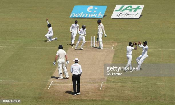 England batsman Keaton Jennings looks on after being caught at leg slip by Silva off the bowling of Pushpakumara during Day One of the Third Test...
