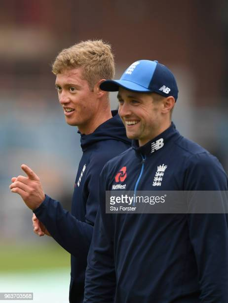 England batsman Keaton Jennings makes a point as Chris Woakes looks on during nets ahead of the 2nd Test Match against Pakistan at Headingley on May...