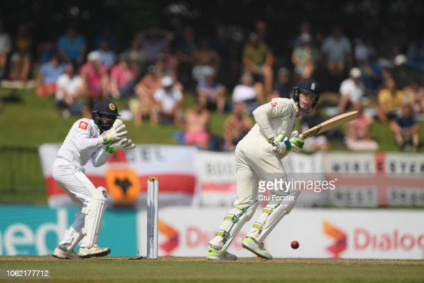 England batsman Keaton Jennings picks up some runs watched by wicketkeeper Niroshan Dickwella during Day Three of the Second Test match between Sri...