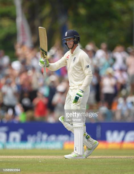 England batsman Keaton Jennings reaches his 50 during Day three of the First Test match between Sri Lanka and England at Galle International Stadium...