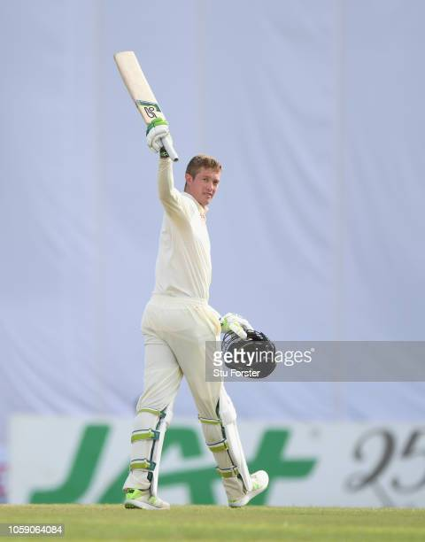 England batsman Keaton Jennings reaches his century during Day three of the First Test match between Sri Lanka and England at Galle International...