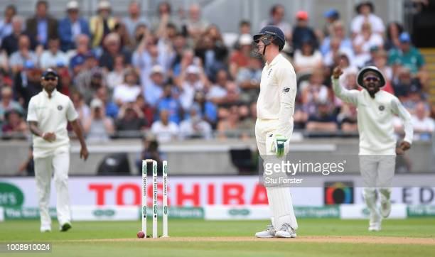 England batsman Keaton Jennings reacts after being bowled during day one of the First Specsavers Test Match between England and India at Edgbaston on...