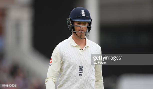 England batsman Keaton Jennings reacts after being dismissed for nought during day two of the 2nd Investec Test match between England and South...