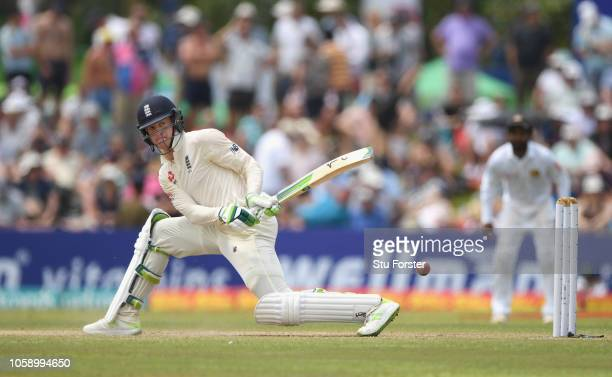 England batsman Keaton Jennings reverse sweeps the ball towards the boundary during Day three of the First Test match between Sri Lanka and England...