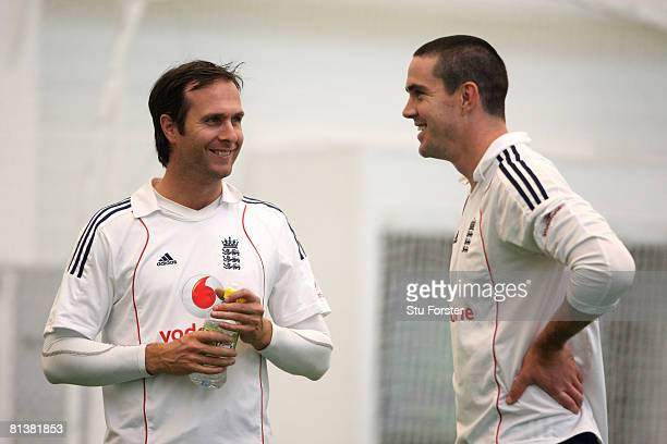England batsman Kevin Pietersen and captain Michael Vaughan enjoy a joke during England Nets at the Academy at Loughborough University, on June 3...