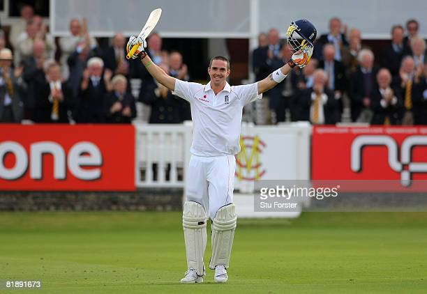 England batsman Kevin Pietersen celebrates after reaching his century during day one of the First Test match between England and South Africa at...