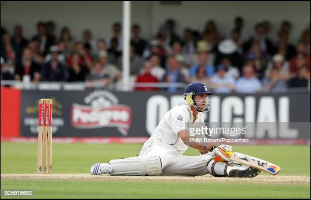 England batsman Kevin Pietersen finishes on the ground after bouncer from Sreesanth of India during the 2nd Test match between England and India at...