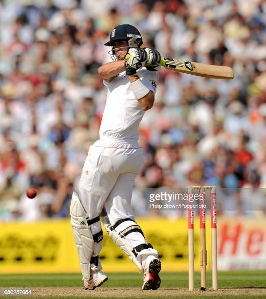 England batsman Kevin Pietersen hits a four off the bowling of India's Ishant Sharma during the 4th Test match at the Oval cricket ground in London...