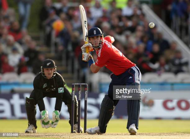 England batsman Kevin Pietersen hits out watched by wicketkeeper Brendon McCullum during the NatWest International Twenty20 between England and New...