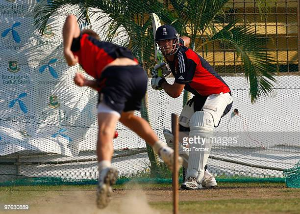 England batsman Kevin Pietersen in action during England nets at Jahur Ahmed Chowdhury Stadium on March 11 2010 in Chittagong Bangladesh