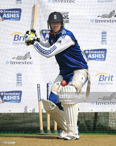 England batsman Kevin Pietersen in action in the nets during England practice at Emirates Durham ICG on August 7 2013 in ChesterleStreet England
